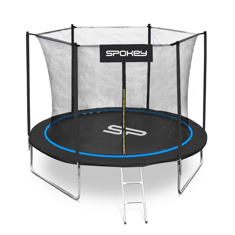SPOKEY - JUMPER Trampolína čierno-modrá, priemer 244 cm, vrátane ochrannej siete a rebríku