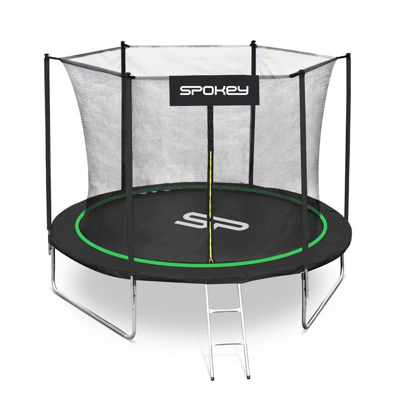 SPOKEY - JUMPER Trampolína čierno-zelená, priemer 244 cm, vrátane ochrannej siete a rebríku