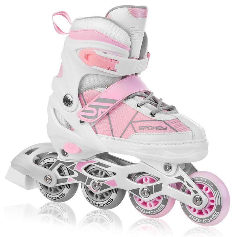 SPOKEY - Kolieskové korčule TONY, bielo-ružové, ABEC7 Carbon, veľ. 30-33