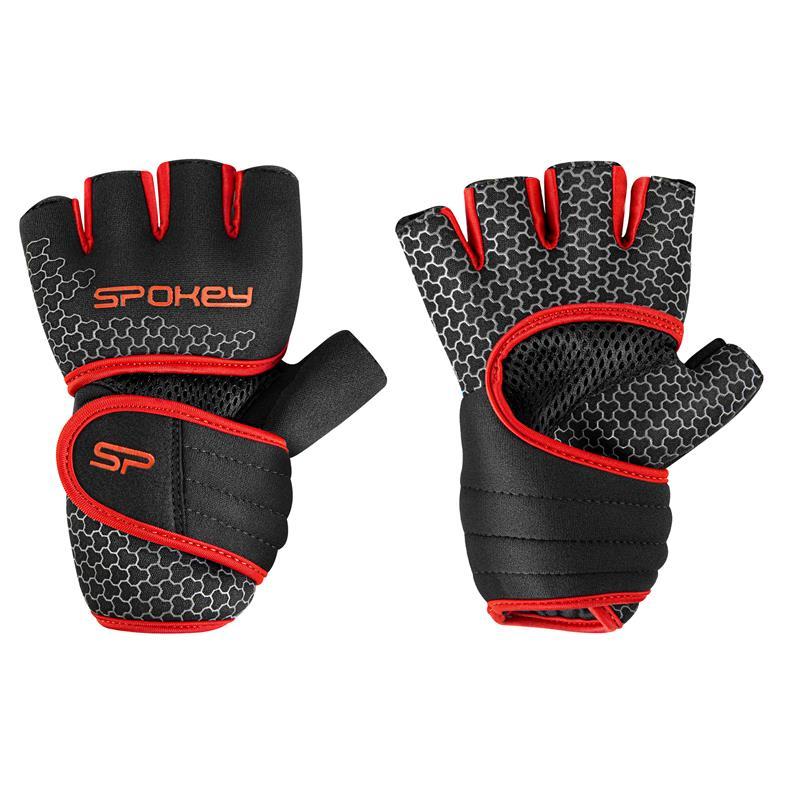 SPOKEY - LAVA Neoprenové fitness rukavice, čierno-červené, veľkosť XS/S