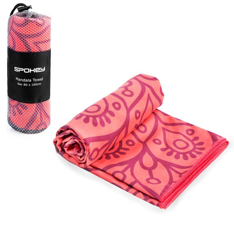 SPOKEY - MANDALA Rýchloschnúci plážový uterák lososový, 80x160cm