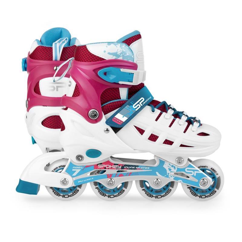 SPOKEY - MIZOU Kolieskové korčule regulovateľné, ABEC 7 bielo-ružové, veľ. 35-38