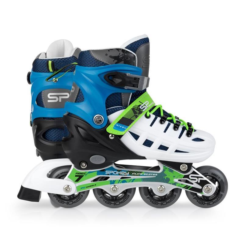 SPOKEY - MIZOU Kolieskové korčule regulovateľné, ABEC 7 modro-zelené, veľ. 39-42