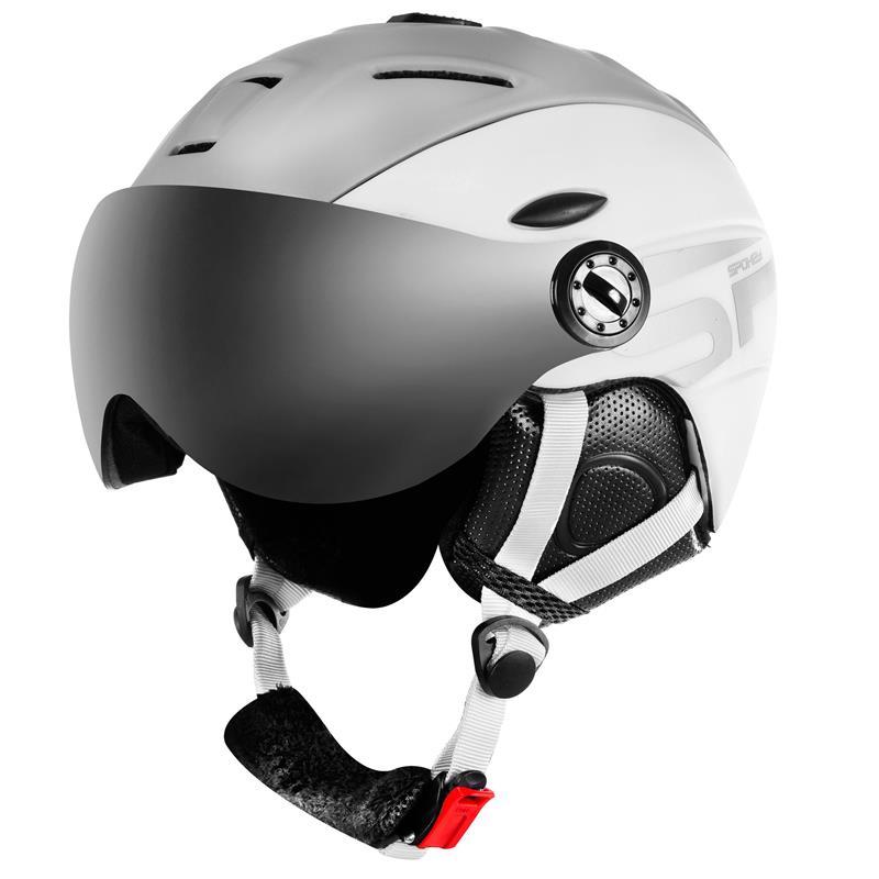 SPOKEY - MONTANA lyžiarska prilba s vymeniteľným čelným sklom, sivo-biela, veľ. M