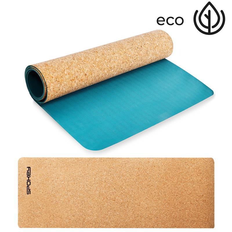 SPOKEY - SAVASANA jóga podložka na cvičenie korková, tyrkys 3 mm