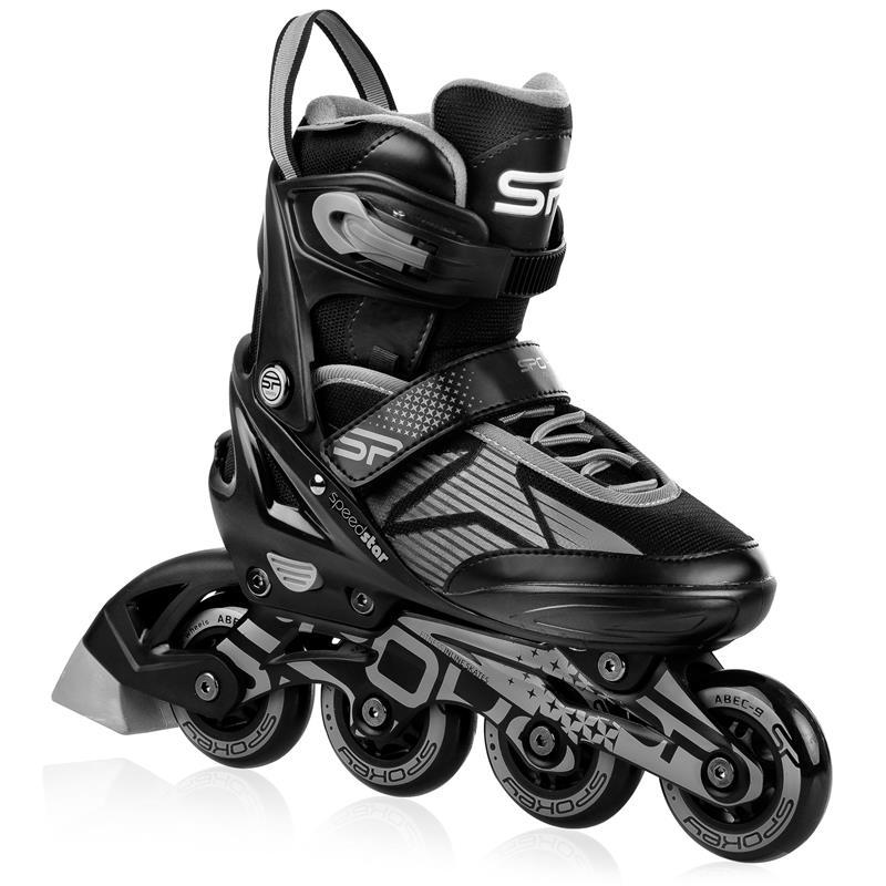 SPOKEY - SPEED PRO Kolieskové korčule, čierno-sivé, ABEC9 Carbon, veľ. 40-43