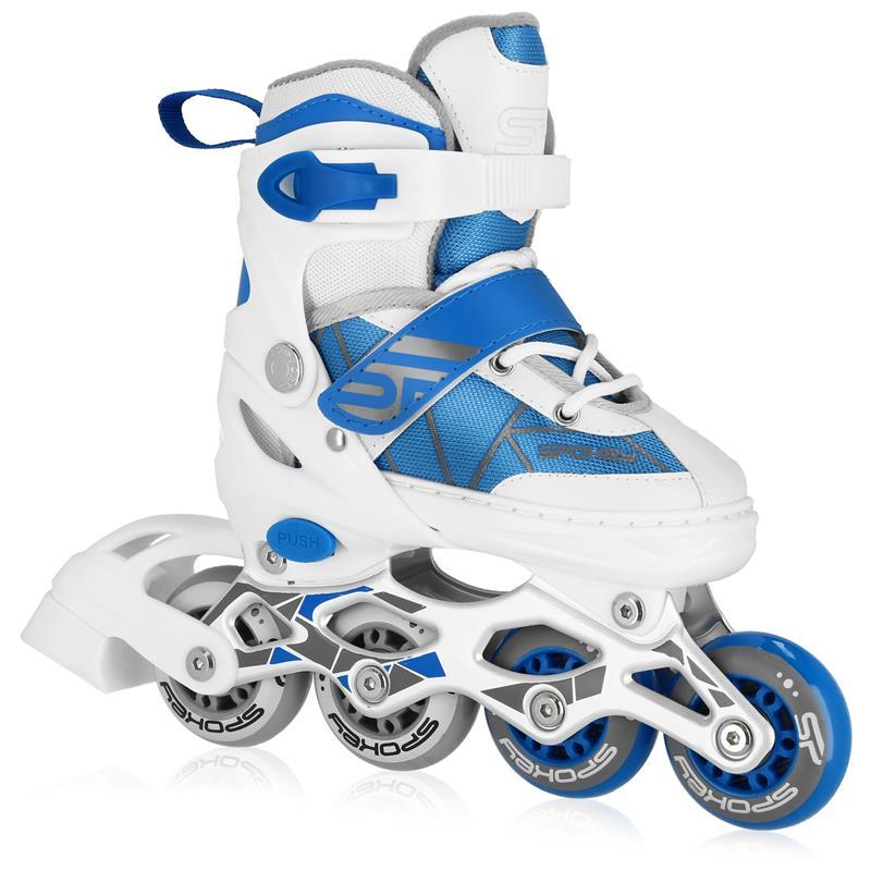 SPOKEY - TONY Kolieskové korčule, bielo-modré, ABEC7 Carbon, veľ. 30-33