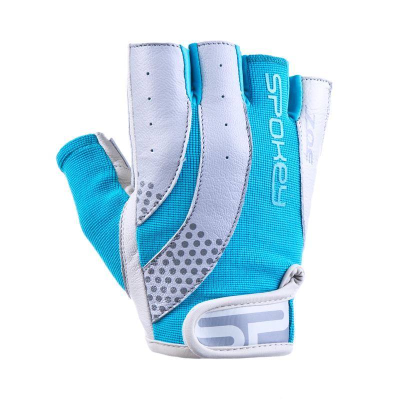 SPOKEY - ZOE II Dámské Fitness rukavice bielo-tyrkysové vel.L