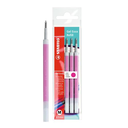 "STABILO - Náplň gumovacia ""Gel Exxx Refill"" 0,5 mm/3ks - ružová"