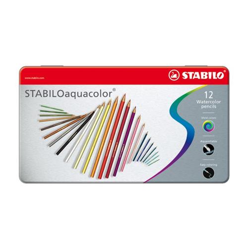 STABILO - Pastelky aquacolor metal box 12ks