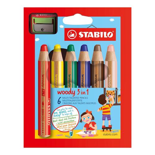STABILO - Pastelky woody 3 in 1 sada 6 ks + strúhadlo