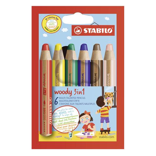STABILO - Pastelky woody 3 v 1 - farbička, vdodovka, voskovka - 6 ks rôznych farieb