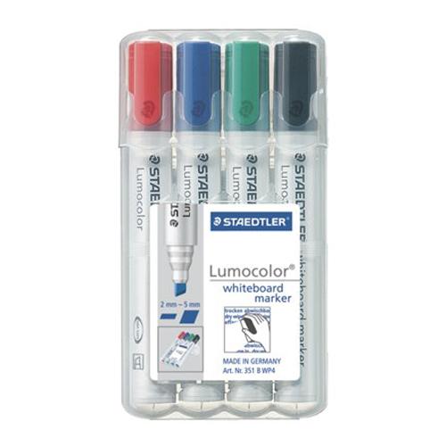 """STAEDTLER - Popisovač na tabuľu a flipchartovú tabuľu, zrezaný hrot, """"Lumocolor 351 B"""" (4ks)"""