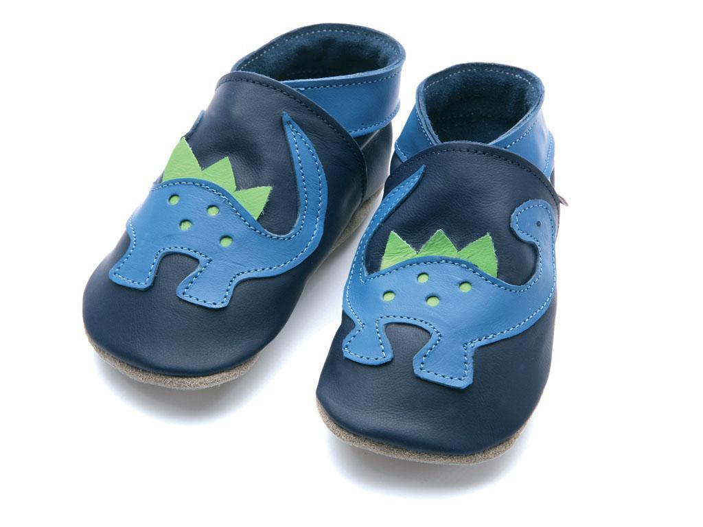 STARCHILD - Kožené topánočky - Dino Navy - veľkosť M (6-12 mesiacov)