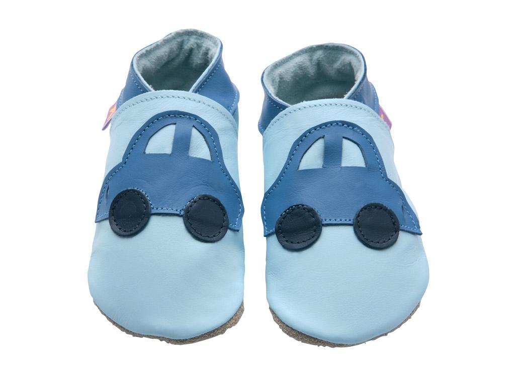 STARCHILD - Kožené topánočky - Car Baby Blue - veľkosť XL (18-24 mesiacov)