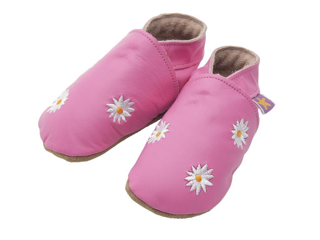 STARCHILD - Kožené topánočky - Daisy flowers pink - veľkosť L (12-18 mesiacov)