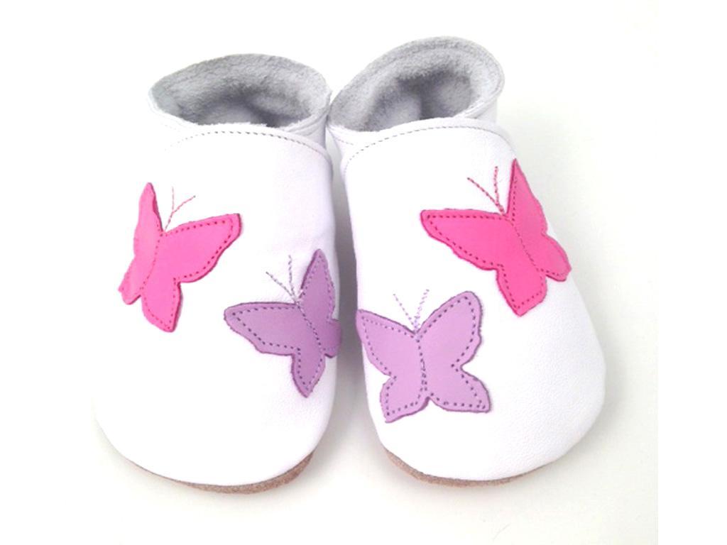 STARCHILD - Kožené topánočky - Flutterbye White - veľkosť M (6-12 mesiacov)