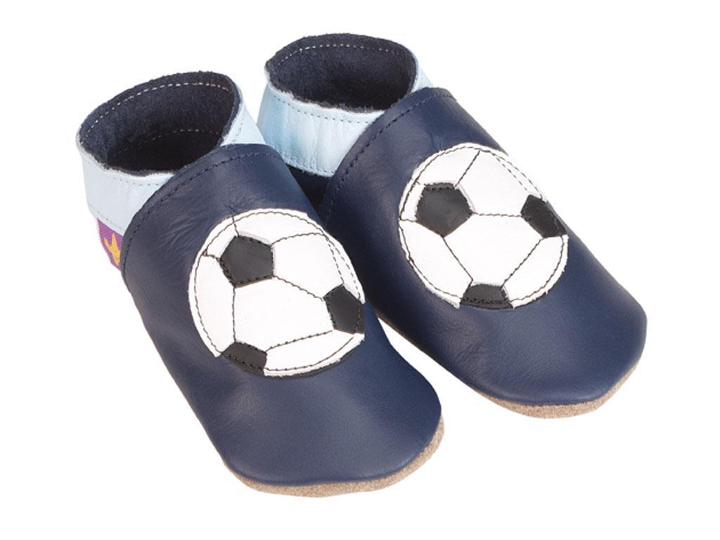 STARCHILD - Kožené topánočky - Football navy - veľkosť M (6-12 mesiacov)