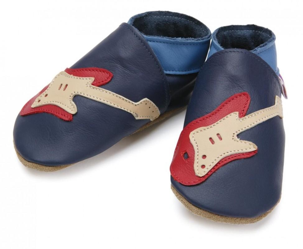 STARCHILD - Kožené topánočky - Guitar Navy - veľkosť L (12-18 mesiacov)