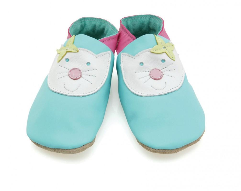 STARCHILD - Kožené topánočky - Happy Cat turquise- veľkosť S - 25-26 (3-4 roky)