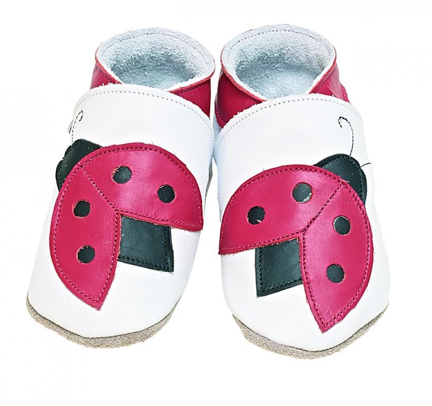 STARCHILD - Kožené topánočky - Ladybug White - veľkosť XL (18-24 mesiacov)