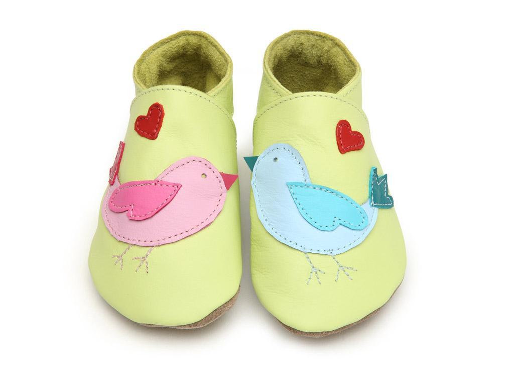 STARCHILD - Kožené topánočky - Lovebird lemon - veľkosť L (12-18 mesiacov)