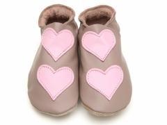 STARCHILD - Kožené topánočky - Lovehearts Taupe/Baby Pink - veľkosť L (12-18 mesiacov)