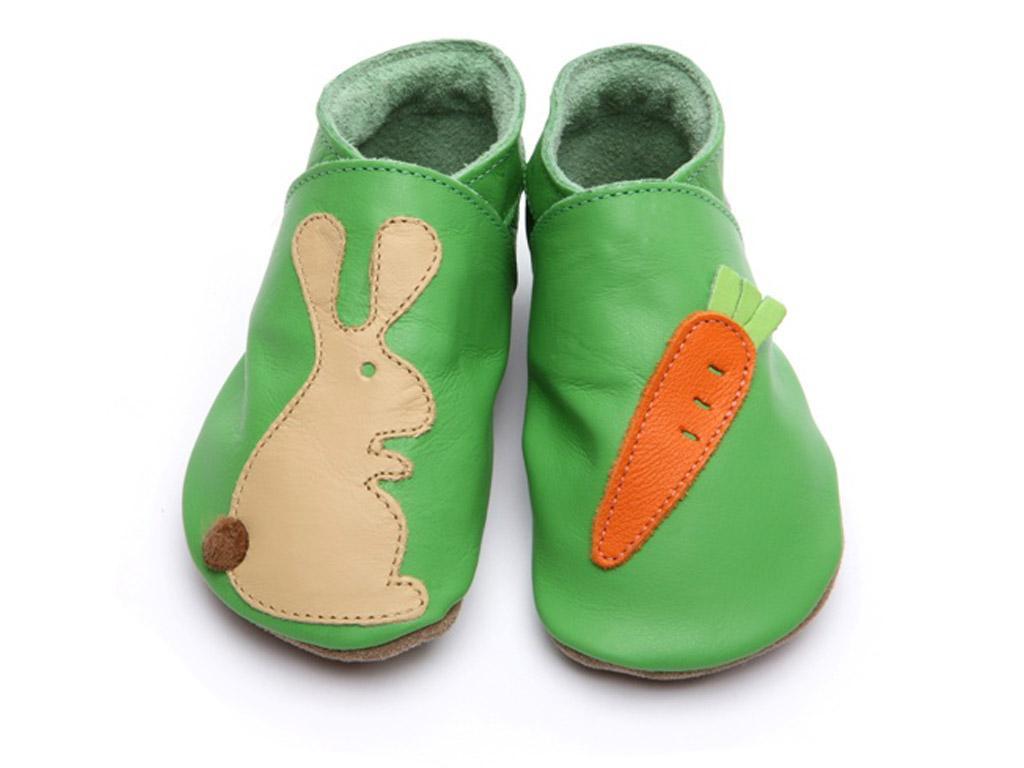 STARCHILD - Kožené topánočky - Rabbit carrot on green - veľkosť XL (18-24 mesiacov)