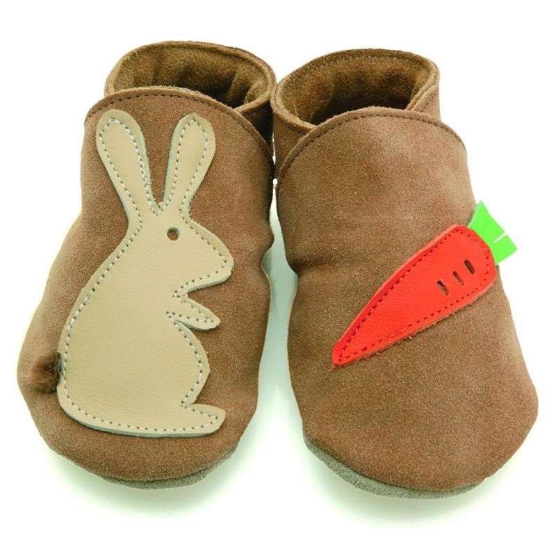 STARCHILD - Kožené topánočky - Rabbit carrot sand - veľkosť M (6-12 mesiacov)