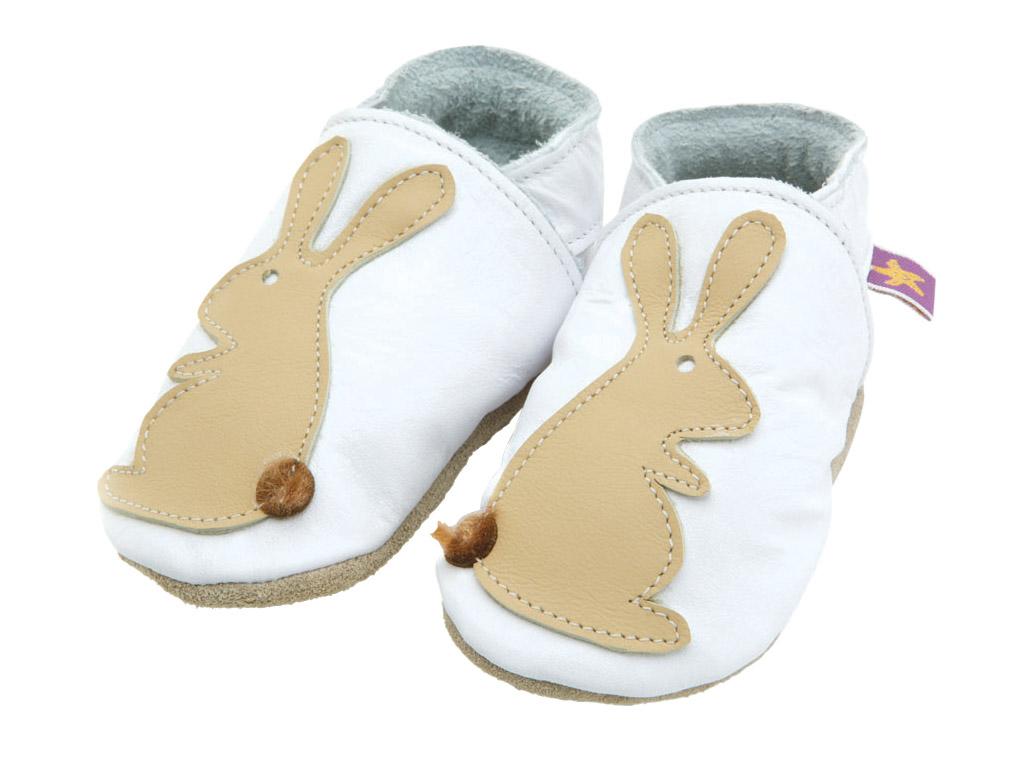STARCHILD - Kožené topánočky - Rabbit White/ Caramel- veľkosť S (0-6 mesiacov)