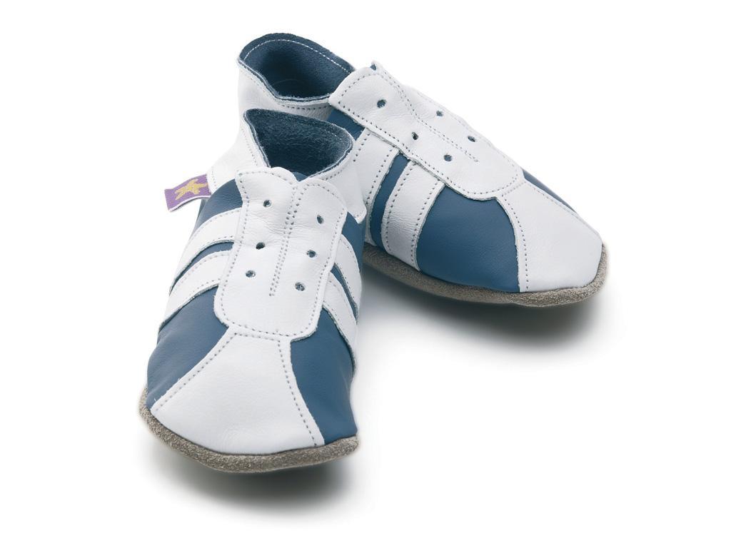 STARCHILD - Kožené topánočky - Sporty Blue / White - veľkosť S (0-6 mesiacov)