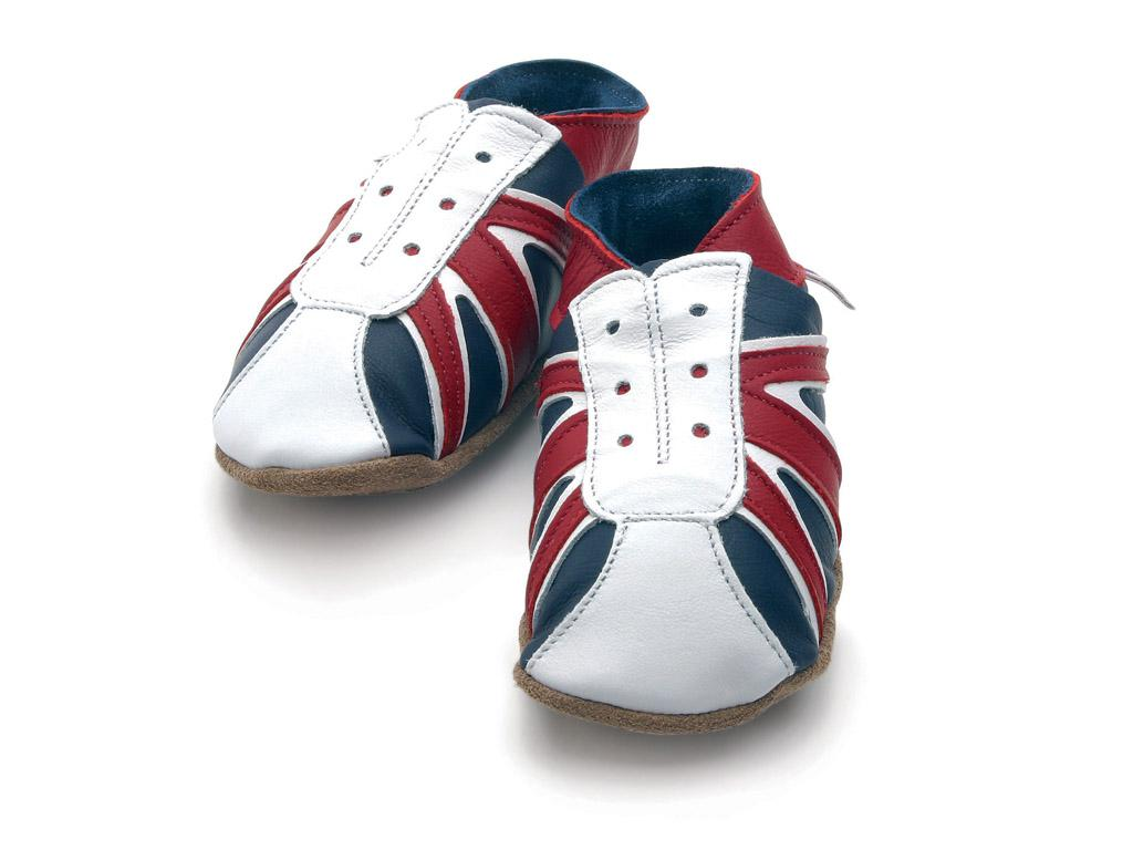 STARCHILD - Kožené topánočky - UK Trainer Navy/red - veľkosť L (12-18 mesiacov)