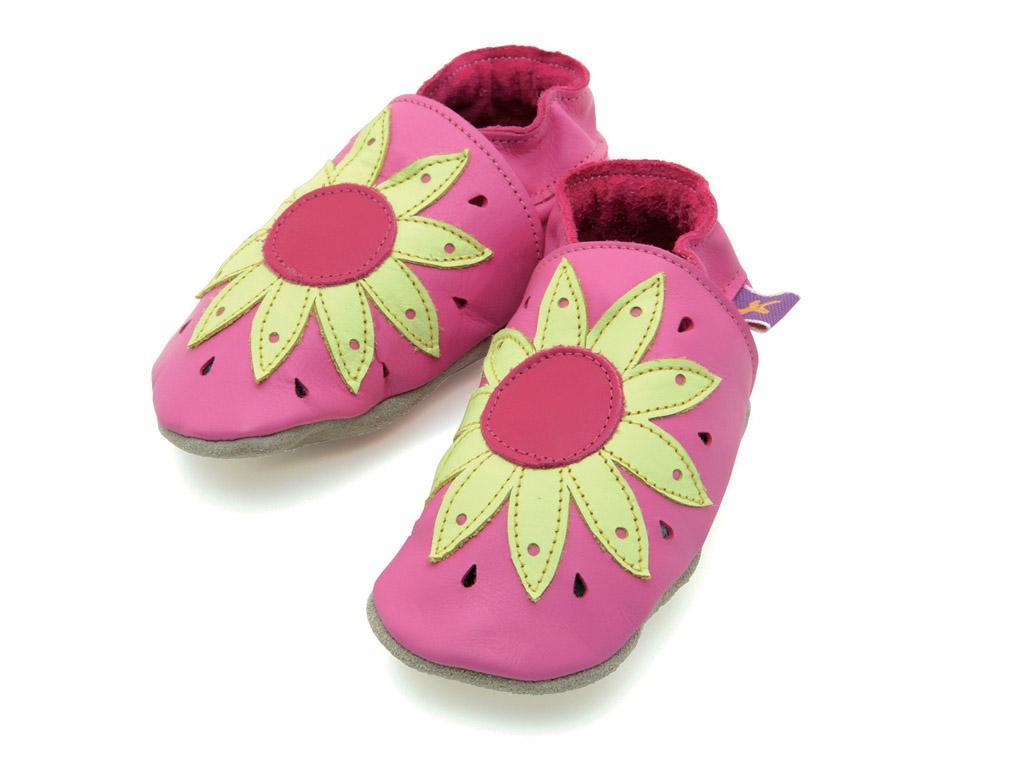 STARCHILD - Kožené topánočky - Sunflower Pink - veľkosť M (6-12 mesiacov)
