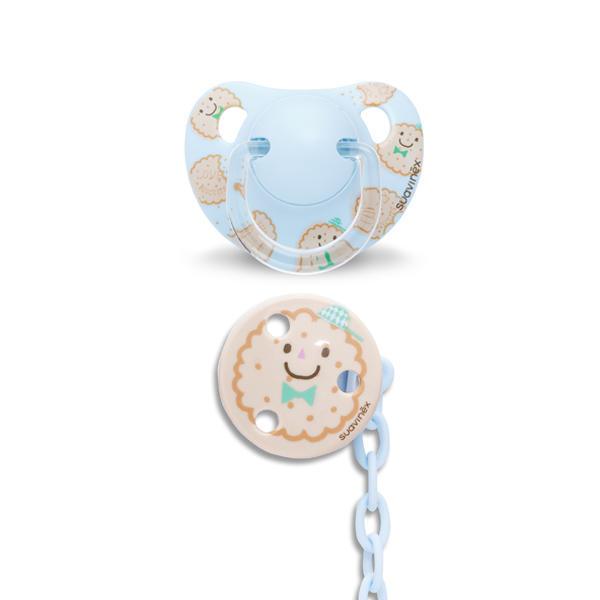 SUAVINEX - CUMLÍK anatomický silikón +6 m + Guľatý klip - Modrá sušienka