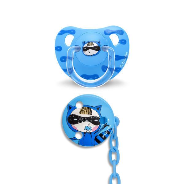 SUAVINEX - CUMLÍK anatomický silikón +6 m + Guľatý klip - Modrá mačička