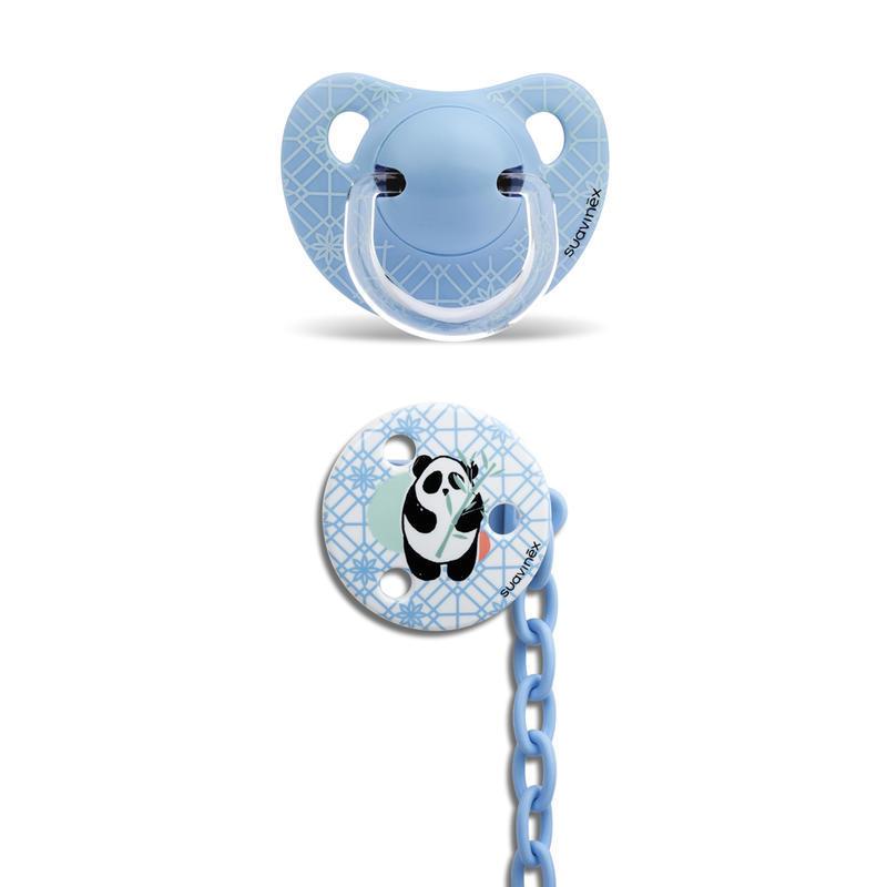 SUAVINEX - CUMLÍK anatomický silikón +6 m + KLIP - Modrá panda