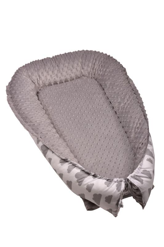 T-TOMI - Hniezdočko pre bábätko MINKY, white / grey clouds