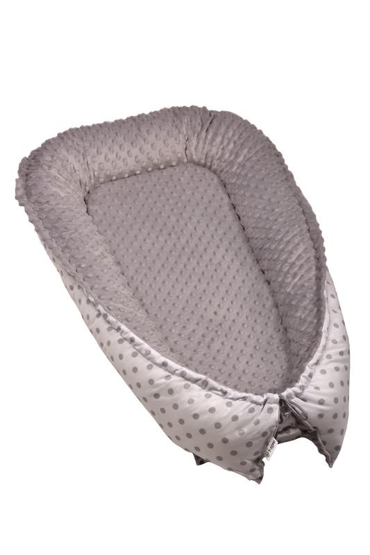 T-TOMI - Hniezdočko pre bábätko MINKY, white / grey dots