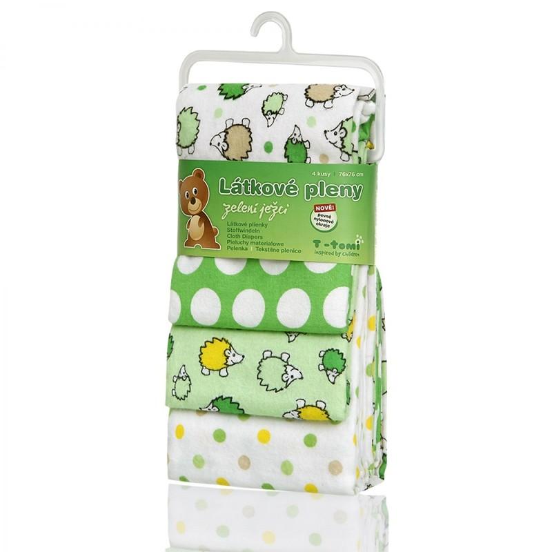 T-TOMI - Látkové plienky, green hedgehogs