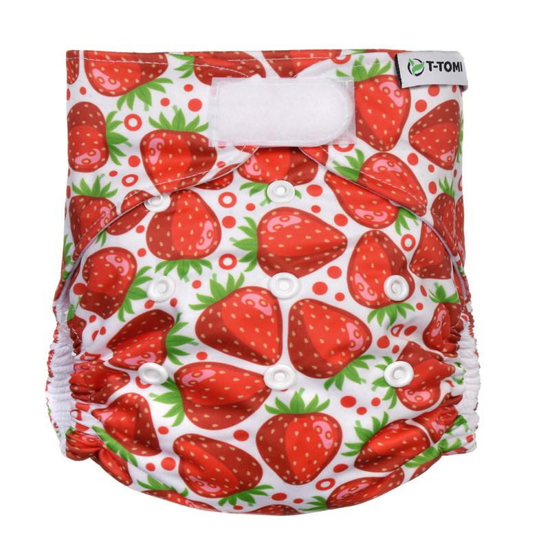 T-TOMI - Nohavičková plienka AIO - prebaľovací set suchý zips, strawberries
