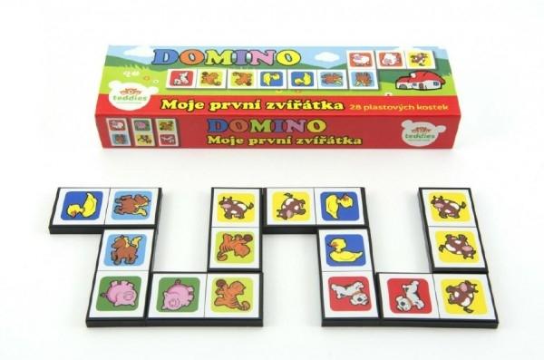TEDDIES - Domino Moje prvé zvieratká 28ks spoločenská hra v krabičke 21x6x3cm