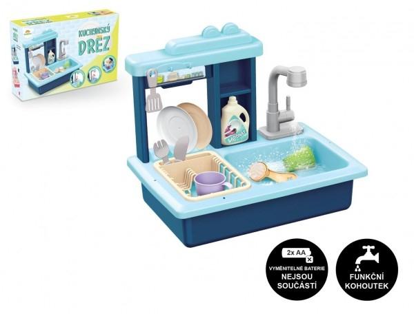 TEDDIES - Drez na umývanie riadu modrý + kohútik na vodu na batérie plast s doplnkami v krabici 46x