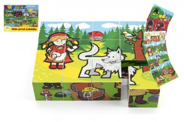 TEDDIES - Kocky kubus drevené Moje prvé rozprávky 12ks v krabičke 17x12,5x4cm
