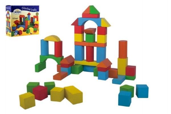 TEDDIES - Kocky stavebnice drevo 50 ks v krabici 20x19x8cm