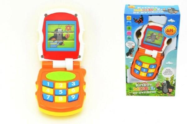 TEDDIES - Krtkov mobil telefón meniace obrázky Krtko plast so svetlom a so zvukom v krabičke 6m +