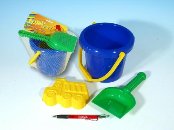 TEDDIES - Sada na piesok - vedierko, lopatka, bábovka plast v sáčku od 12 mesiacov