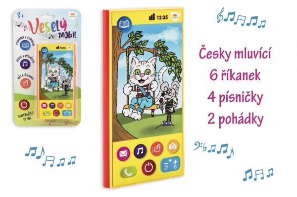 TEDDIES - Veselý Mobil Telefón plast česky hovoriaci 7,5x15cm na batérie so zvukom na karte