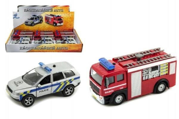 TEDDIES - Záchranárske auto polícia / hasiči kov 11cm na spätný chod na batérie so svetlom a zvukom.