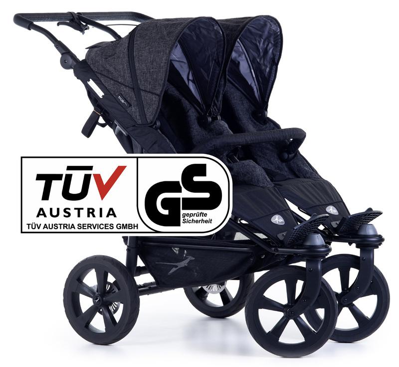 TFK - kočík pre dvojičky Twin Trail 2 Premium Anthrazit T-TWT-19-P-411