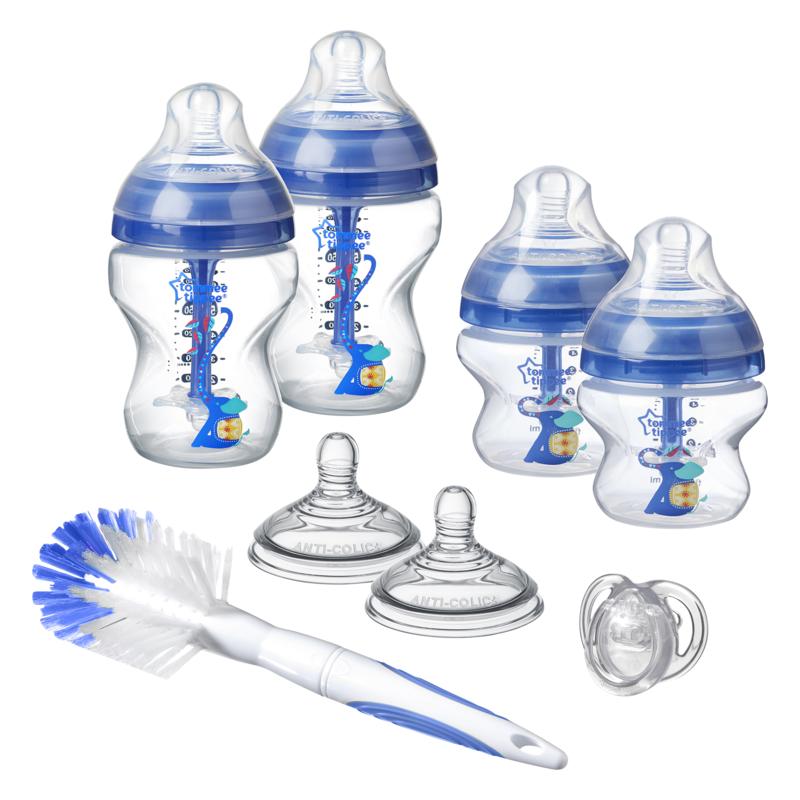 TOMMEE TIPPEE - Sada dojčenských fľaštičiek C2N ANTI-COLIC s kefou Blue